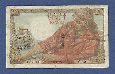 France 20 Francs 1943 Banknote 171316310 Breton Fisherman/Women WWII Currency!