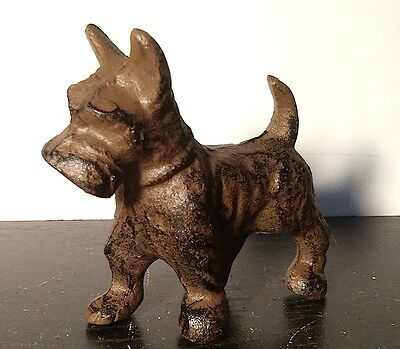 Small Cast Iron Rusted Brown SCOTTISH TERRIER DOG Paperweight Figurine