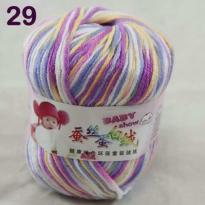 Sale 1ball 50g Baby Cashmere Silk Wool Children hand knitting Yarn White Blue