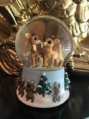 Enesco Rudolph the Red-Nosed Reindeer with Clarice SNOW GLOBE