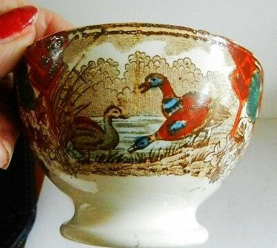 Antique Holland Societe Ceramique Maestricht Colorful Footed CANARDS Rice Bowl