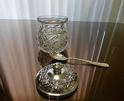 AMERICAN BRILLIANT cut glass jam jar with KIRK repousse STERLING lid and spoon!