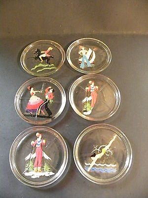 Vintage Set of Six Glass Coasters W/Decals of Women Pre-Owned