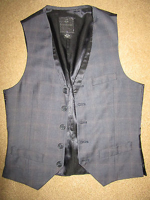 MENS  Victorian Edwardian Sherlock Holmes Dickens blue/brown plaid VEST XS/S 36