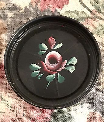 Vintage Black Round Metal Tole Hand Painted Roses Set Of 8 Coasters Chic!