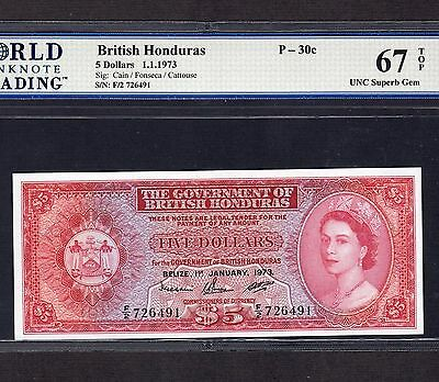 British Honduras, 5 Dollars 1973, P-30c, UNC Superb Gem 67 TOP * Last Date *