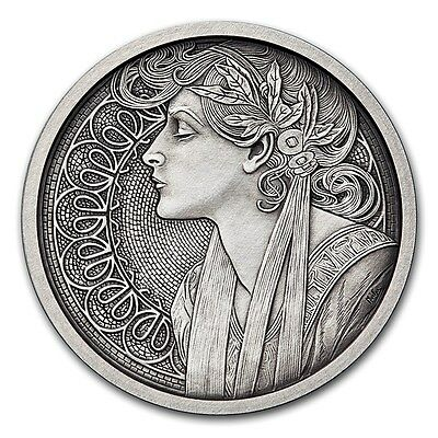Alphonse Mucha Collection - LAUREL 1 oz Silver USA Antiqued Capsuled Round W/COA