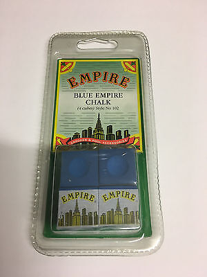 4 x BLUE EMPIRE Pool-Snooker-Billiards Tables Cues Tips Chalks in Blister Pack