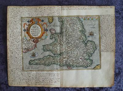England London Manchester Wales Cardiff Early Engraving Map Quad 1596 #b959