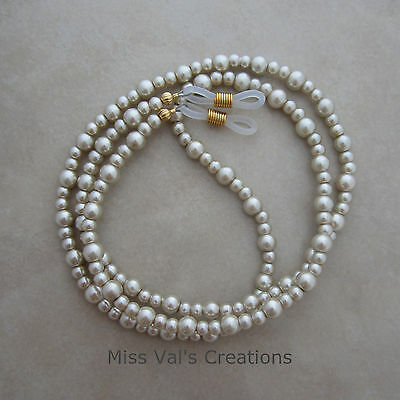 Handcrafted beige pearl beaded reading eyeglass chain holder gold ends