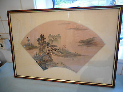 Ref 003 Framed Chinese Ink Wash Painting On Silk Signed With Lush Mountain Scene