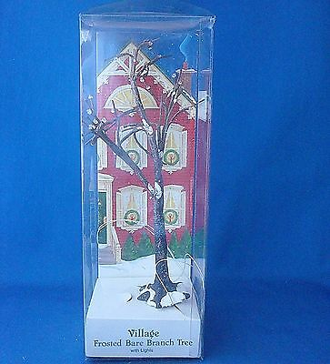 Dept 56 Village Frosted Bare Brach Tree with lights 5243-4 Dickens Village acc