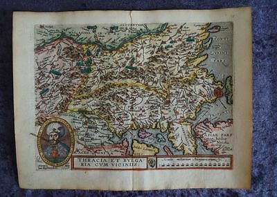 Thrace Bulgaria Bosporus Constantinople Europe Engraving Map Quad 1596 #b959