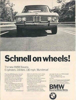 "1971 BMW BAVARIA 2.8 SEDAN ""Schnell on wheels ! "" NON-COLOR AD - USA - EXCELLENT"