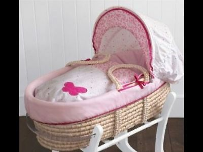 Mothercare Rose Bud Nursery Moses Basket and Rocking or Folding Stand