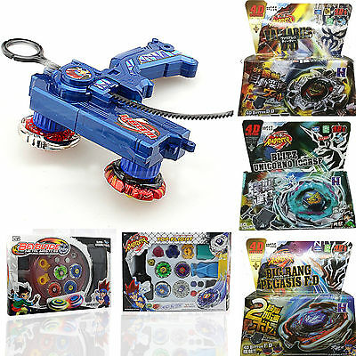 Rotate Metal Fusion Fight Power Master Top+Launcher 4D Beyblade Battle 2Pcs Set