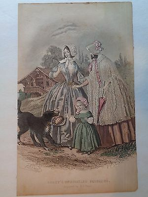 """1846 GODEY""""S magazine fashion plate 6"""" x10"""" 3 dresses & a pup!!! signed"""