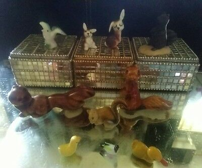 lot of miniature 5 squirrels and 1 Skunk figurines