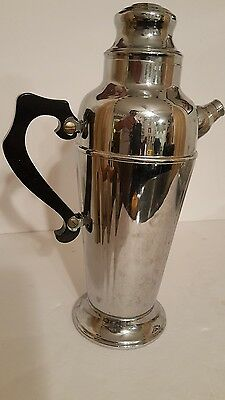 """Martini Vintage Silver Plate Chrome Pitcher With Line Design & Black Handle. 13"""""""