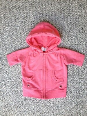 Hanna Andersson Girls Toddler Size 80 Short Sleeve Pink Hooded Sweatshirt
