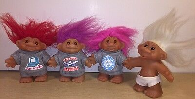 Lot of 4 Vintage Trolls 1986 Dam PreOwned Good Condition Baseball Music Computer