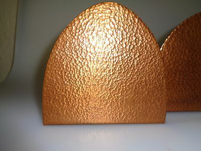 Handsome Pair Of Hammered Copper Northland School Of Arts  - Crafts Gothic Shape