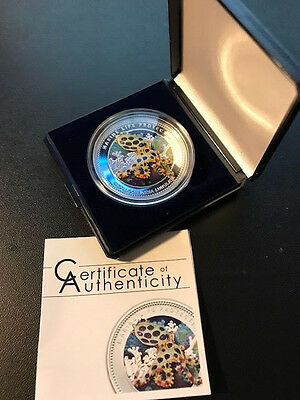 2012  Palau MARINE LIFE PROTECTION $5 Silver Coin LUNULATA HIGH RELIEF COLORED