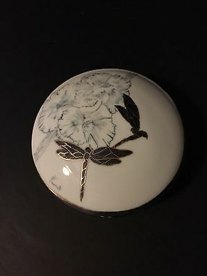 Vintage Hand Painted  Porcelain Dragonflies Vanity Trinket Jewelry Box Signed