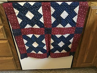 Moprimitivepast Stunning Antique I Diego Blue Claret Wine Calico Small Quilt Top