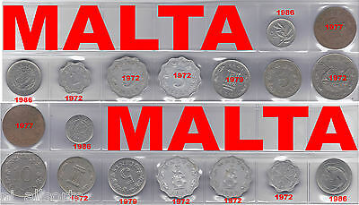 9 Coins From Malta Cents And Mils...1972 To 1986