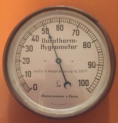 Antique Abercrombie and Fitch Lufft Durotherm Hygrometer Barometer Germany RARE