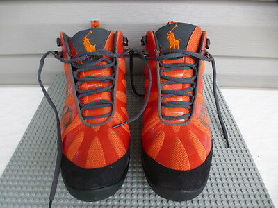 Polo Ralph Lauren Men's High Top Athletic Shoes Size 9.5 Orange/black Nice