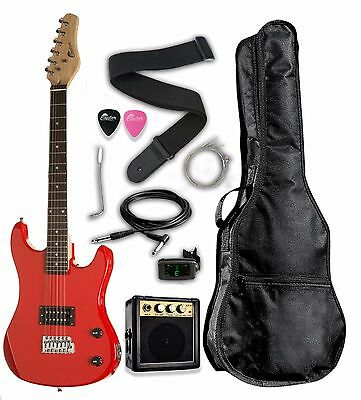 "Raptor 3/4 Scale 36"" Kid's Starter Electric Guitar Pack RED w/ FREE TUNER + AMP"