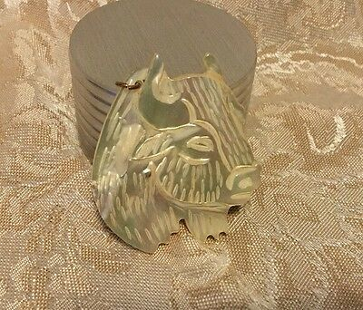 Vintage Hand Carved Mother Of Pearl Water Buffalo Bull Bison