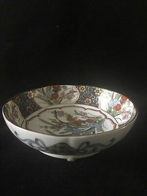 Antique Japanese Imari Bowl With Gold Gilt And Floral Decoration Marked