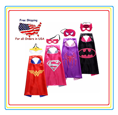 Superhero Capes And Mask Party Supplies Dress Up Costumes 4 Set For Girl