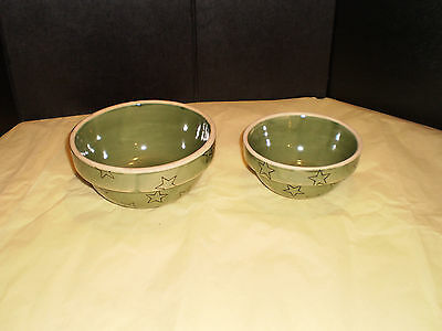 Vintage Green Pottery Americana General Bowls With Stars Lot of 2