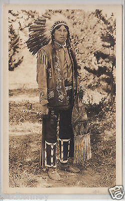 RPPC - Young Indian Man in full regalia and feather headdress - 1930s era