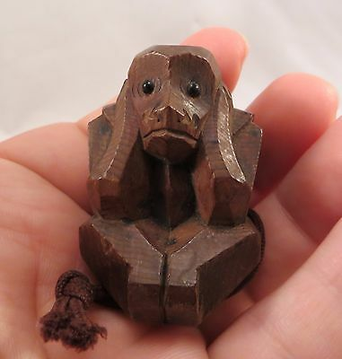 "Vintage Japanese Wooden Ittobori ""Hear No Evil"" Monkey Netsuke Japan"