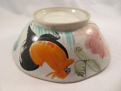 Antique Chinese Canton ware Porcelain Bowl Rooster & Flowers Design China