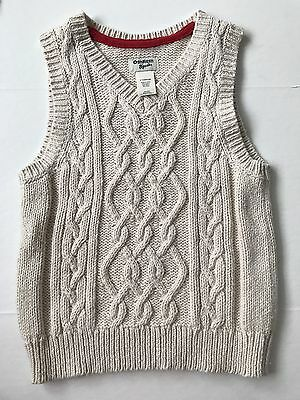 OshKosh Toddler Boys  Cable Knit Sweater Vest Size 3T Beige