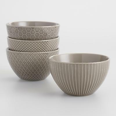 Taupe Textured Stoneware Bowls Set of 4 by World Market