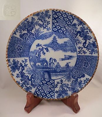 Antique Japanese Porcelain Igezara ware Plate Blue & White Transferware Japan