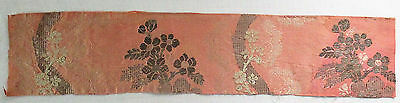 "Antique Silk Brocade Frag. Light Pink Silver Metallic Blossoms  French 21"" x 4"