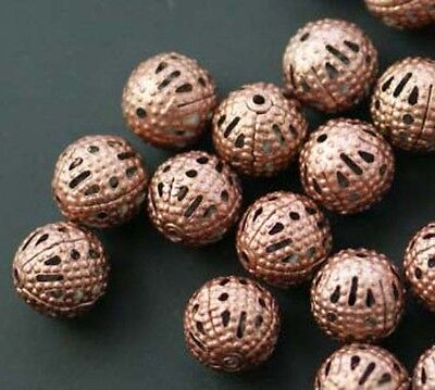 100pcs Round Filigree Spacer Beads Copper Plated For Handmade DIY Jewelry 8mm
