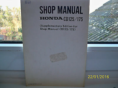 Motorcycle Shop Manual Supplement for the HONDA CD125/175