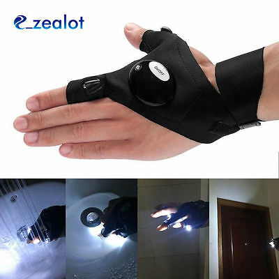 1pc Outdoor Fishing Fingerless Left Hand Glove LED Flashlight for Camping Hiking