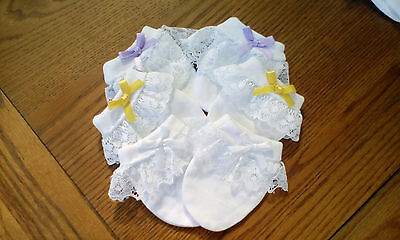 3 pairs of beautiful white baby girls scratch mittens with lace and bow all new
