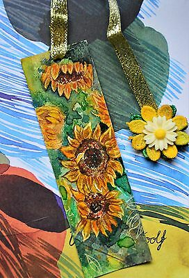 Handmade Bookmark Watercolour Sunflowers inspired by Van Gogh with string