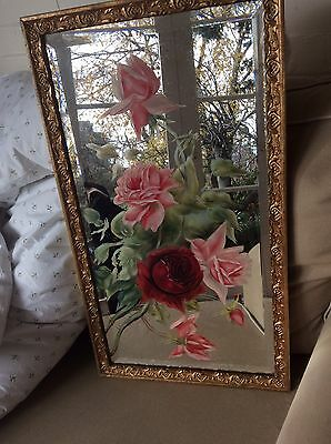 Gorgeous Vintage Mirror With Hand painted Roses 1920s /40s